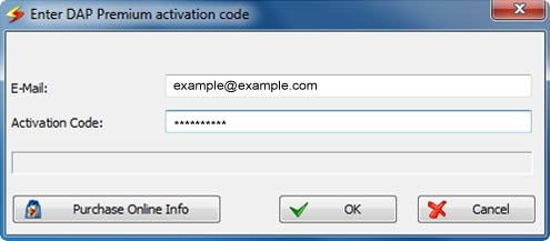Enter DAP Premium activation code window screenshot