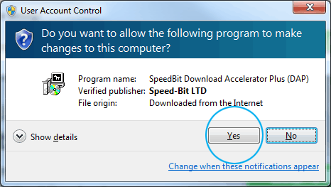 Windows' User Account Control window