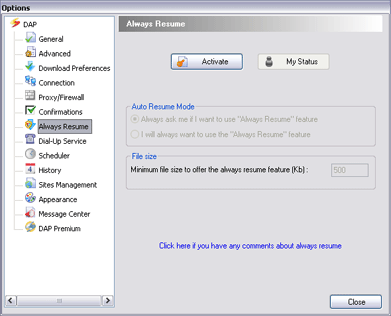 Download Accelerator Plus (DAP) - AlwaysResume Options window screenshot