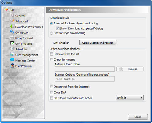 Download Accelerator Plus (DAP) - Download Preferences Options window screenshot - Automatic Disconnect option