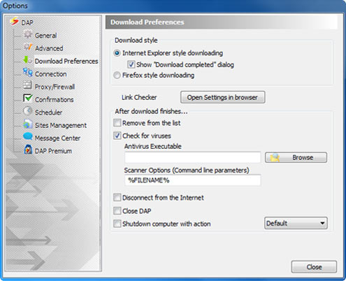 Download Accelerator Plus (DAP) - Download Preferences Options window screenshot - After download finishes option