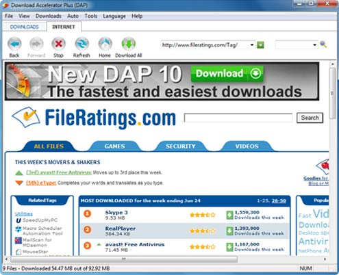 Download Accelerator Plus (DAP) - Internet tab screenshot - Search for files using fileratings.com