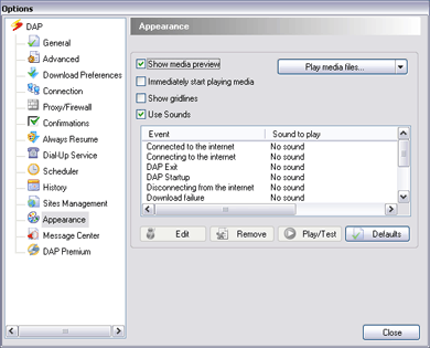 Download Accelerator Plus (DAP) - Apperance Options window screenshot - Use Sounds option