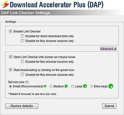 Screenshot of DAP Link Checker Settings window
